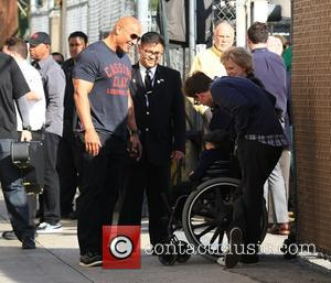 American Hollywood star Dwayne Johnson also known as WWE wrestler 'The Rock' was photographed as he arrived to the Jimmy...
