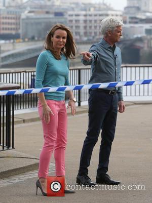 Amanda Holden and Phillip Schofield - Amanda Holden and Phillip Schofield filming for This Morning Show on the Southbank -...