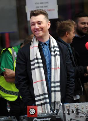 Sam Smith - Sam Smith DJs at the BBC helping Dermot O Leary with his marathon dance for Comic Relief...