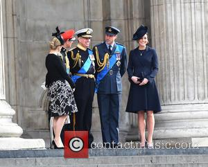 Prince Edward, Prince Andrew, Catherine Duchess Of Cambridge, Prince William and Cathedral