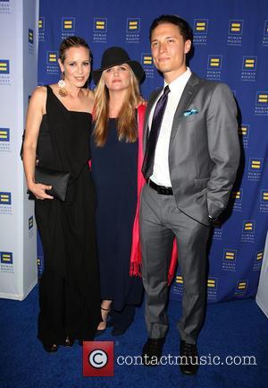 Maria Bello, Clare Munn and Elijah Allan-Blitz - HRC Los Angeles Gala Dinner 2015 at the JW Marriott Hotel at...