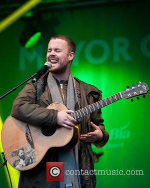 Shots of British singer-songwriter and rapper Maverick Sabre as he performed live on stage in Trafalgar Square as part of...