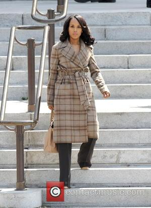Shots of American actress Kerry Washington as she was filming scenes for the American TV series 'Scandal' filming was taking...