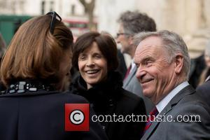 Jeffrey Archer and Mary Archer - Richard Attenborough memorial service held at Westminster Abbey - Departures. - London, United Kingdom...