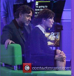 Olga Kurylenko and Russell Crowe - Olga Kurylenko and Russell Crowe being interviewed at the BBC 'The One Show' studio...