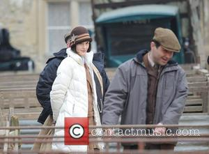 Michelle Dockery - Downton Abbey filming market scene for new series - London, United Kingdom - Thursday 19th March 2015