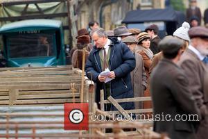 Hugh Bonneville - The cast of 'Downton Abbey' film a market scene for the new series - Oxford, United Kingdom...