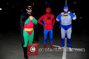 Spiderman, Batman, Robin, Foxy, Giuliano and Spider-Man