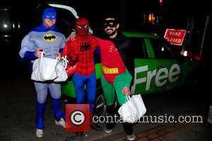 Spiderman, Batman, Robin, Foxy, Giuliano and Spider-Man - Birmingham Free Radio presenters Foxy & Giuliano dressed as Batman & Robin...