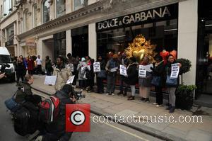 Dolce and Gabbana protest - A not so convincing seemingly black protest outside the Dolce and Gabbana store in Old...