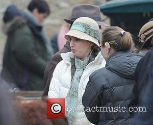 Laura Carmichael - The cast of 'Downton Abbey' film a market scene for the new series - London, United Kingdom...