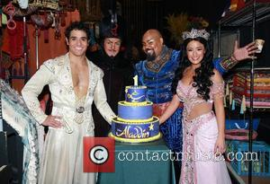 Adam Jacobs, Jonathan Freeman, James Monroe Iglehart, Courtney Reed and Cake By Beth Bennett Of Bebe Bakes