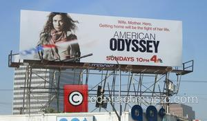Anna Friel's advertising display billboard - Anna Friel's advertising display billboard for American Odyssey at the 99 cent store in...