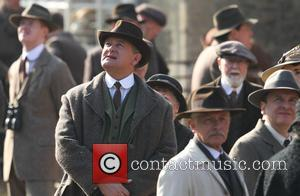 Hugh Bonneville - Cast shoot scenes for the new series of Downton Abbey in Wiltshire - Wiltshire, United Kingdom -...