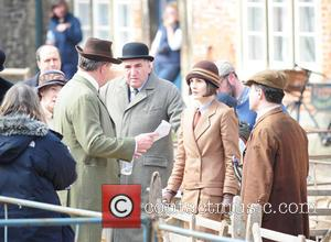 Michelle Dockery - Shots of the cast as the UK TV series 'Downton Abbey' as they film scenes for the...