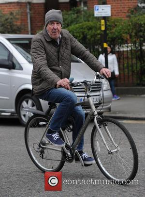 Shots of currently suspended BBC Top Gear presenter Jeremy Clarkson as he goes for a bike ride out and about...