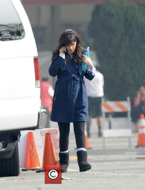 Shots of American actress Zooey Deschanel as she is back at work to film the new season of hit TV...