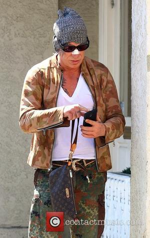 Mickey Rourke - Mickey Rourke seen on Brighton Way in Beverly Hills with a bandage on his nose - Beverly...