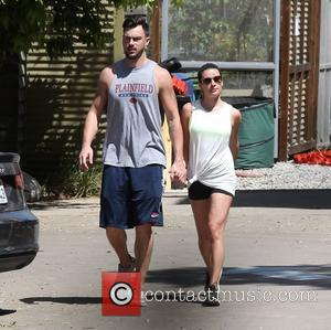 Lea Michele and Matthew Paetz - Lea Michele and her boyfriend Matthew Paetz spotted out holding hands - Los Angeles,...
