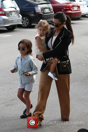 Kourtney Kardashian, Penelope Disick and Mason Disick - Shots of the extended Kardashian-Jenner family as they all attended church on...