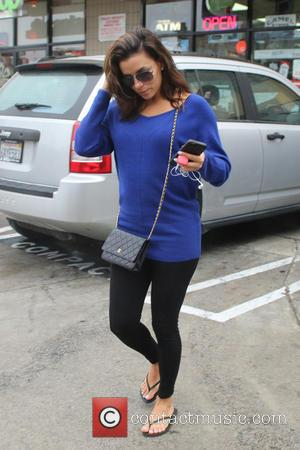 Eva Longoria - Eva Longoria spotted leaving Diamond Nails & Spa with a fresh blue manicure - Hollywood, California, United...