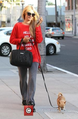 Paris Hilton - Paris Hilton chats on her mobile phone while walking her pet dog in Beverly hills - Los...