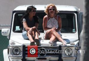 Britney Spears and Lynne Spears - Britney Spears and her mother Lynn take a front seat view as they sat...