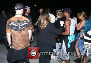 Patrick Schwarzenegger and Justin Bieber - Justin Bieber arriving at the Neon after party during the first weekend of Coachella...