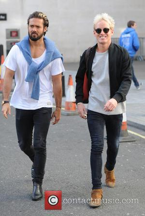 Spencer Matthews and Jamie Laing - Jamie Laing and Spencer Matthews leaving the BBC Radio 1 studios - London, United...