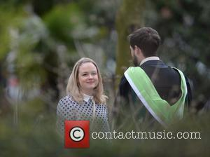 Jack Whitehall and Kimberley Nixon - The cast of 'Fresh Meat' filming the latest series in a park in Manchester...