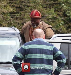 Djimon Hounsou - 'Knights of the Round Table: King Arthur' filming in Snowdonia at Capel Carig - Beddgelert, United Kingdom...