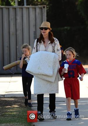 Marcia Cross, Savannah Mahoney and Eden Mahoney - Marcia Cross takes her two daughters Savannah and Eden to soccer practice...