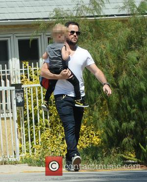 Mike Comrie and Luca - Mike Comrie pays a visit to ex wife Hilary Duff on the set of her...