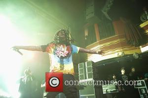 Shots of American rapper Waka Flocka Flame as he performs live on stage at the Webster Hall as part of...