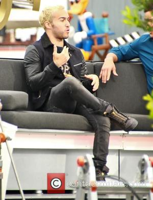 Shots of the bassist from American rock band 'Fall Out Boy' Pete Wentz as he atteneded an interview at Universal...