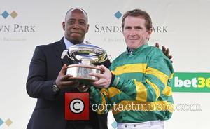 Ian Wright and AP McCoy - AP McCoy's final day as a jockey at Sandown Park at Sandown Park Racecourse...