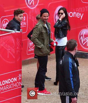 David Beckham, Brooklyn Beckham, Victoria Beckham, Cruz Beckham and Romeo Beckham - Virgin Money London Marathon 2015 - London, United...