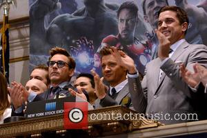 Robert Downey Jr. and Jeremy Renner - New York Stock Exchange Opening Bell Ring In Celebration Of 'Marvel's Avengers: Age...