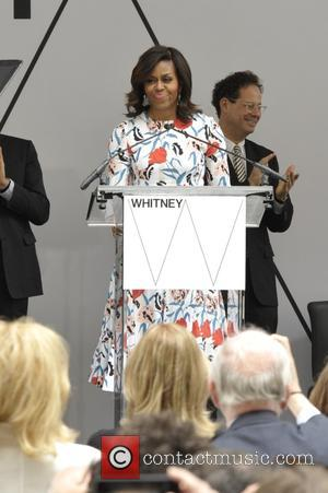 Shots of the First Lady of the United States of America Michelle Obama along with Mayor Bill DeBlasio at the...