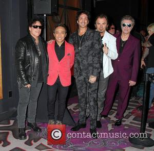 Journey, Neal Schon, Deen Castronovo, Arnel Pineda, Ross Valory and Jonathan Cain - Journey unveils memorabilia cases at The Hard...