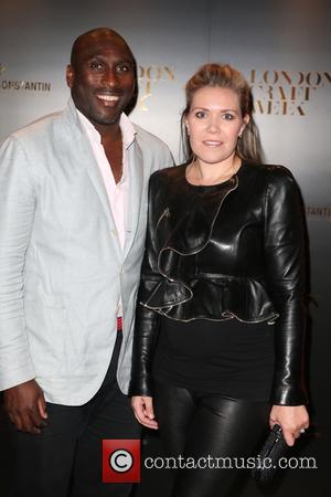 Sol Campbell and Guest - Guests attend London Craft Week Launch party event at the Victoria and Albert Museum, London...