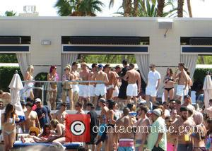 Mark Wright - Mark Wright continues his Las Vegas stag do at Wet Republic Day Club located inside the MGM...