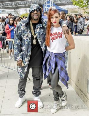 Jessica Sutta and Rico Love - Jessica Sutta and Rico Love pose together prior to their performance at West Los...