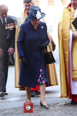 Prince Philip, Duke of Edinburgh and Queen Elizabeth II - Arrivals to the thanksgiving service at Westminster Abbey on the...