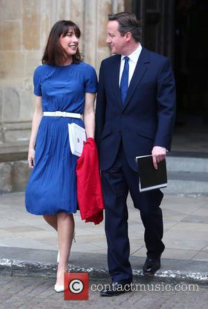 Samantha Cameron and David Cameron - Departures after the thanksgiving service at Westminster Abbey on the final day of 70th...
