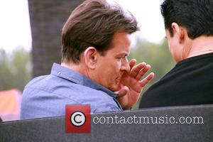 American actor Charlie Sheen famous for his roles in 'Two and a Half Men' and 'Anger Management' was snapped as...