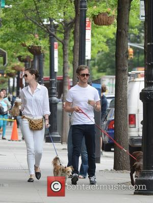 Anne Hathaway and Adam Shulman - Anne Hathaway and Adam Shulman get a morning coffee whilst out with their dogs...