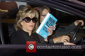 Jane Fonda - Jane Fonda goes to Nail Salon, and tries to cover up with a book by Naomi Klein...
