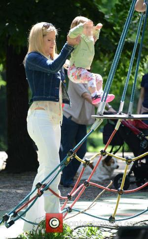 Michelle Hunziker and Celeste Trussardi - Michelle Hunziker and her husband Tomaso Trussardi take their daughters to the park in...