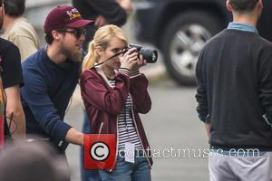 Emma Roberts - Emma Roberts acting as a high school sports photographer on the set of the movie 'Nerve' in...